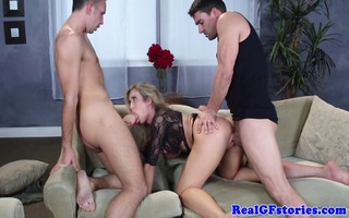 large titted golden-haired girlfriend threeway joy