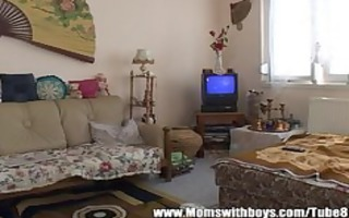 lustful older lady seduces the tv repair-man