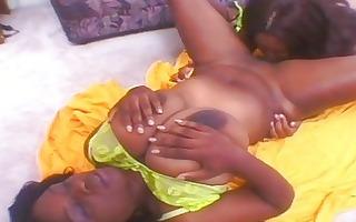 ebon lesbian babes go wazoo to gazoo on double