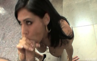 raylene slipping uncut dong between her lush lips