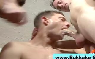 homosexual non-professional bukkake group fuckfest