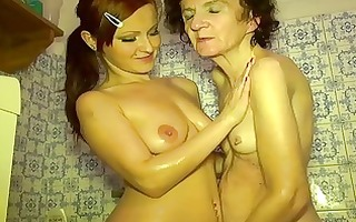 youthful cutie and old granny masturbate jointly