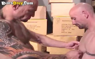 built and tattooed mature fellows fiery three-some