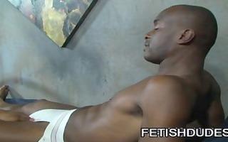 black dad worshipping jockstrap of youthful